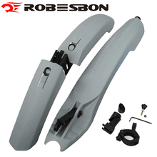 ROBESBON Bicycle Fender With Led Light Black Mountain Bike Wings Parafango Mtb Mudguard Cycling Front Rear Parts Garde Boue Vtt(China)