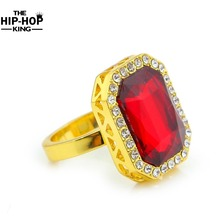 Gold Colo Hip Hop Ring Iced Out Rhinestone Mens Ring Rhinestone Studded Faux Blue Tone Square Fashion Ring