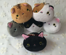 KAWAII NEW 6colors , 7CM Cats Stuffed TOY , Keychain Cat Gift plush TOY DOLL , Kid's Party Birthday plush toys