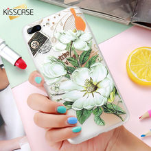KISSCASE 3D Art Print Embossed Case For iPhone 6 6S 7 Luxury Flower Relief Soft TPU Back Cover Case For iPhone 6 7 6S Plus Cases