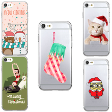 Christmas Cartoon Animals Sock Santa Funny Transparent Soft TPU Thin Shell Phone Cover Case for iPhone 7 Plus 6S 6Plus 6 5 SE