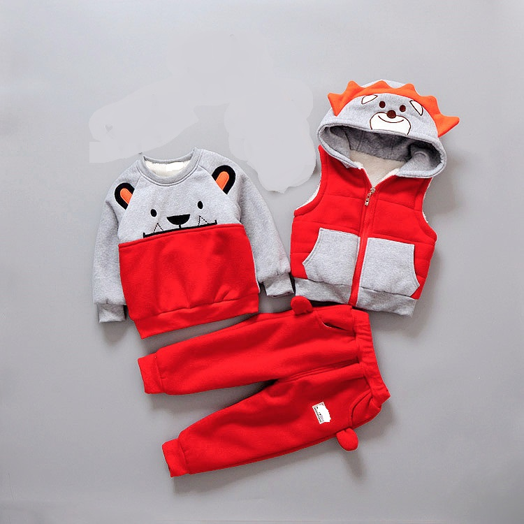 Baby Girl Boy Clothing Sets 2018 Cartoon Pattern Autumn Winter Warm Toddler Vest Shirt Pants Kid Clothing Suit 2-4T<br>