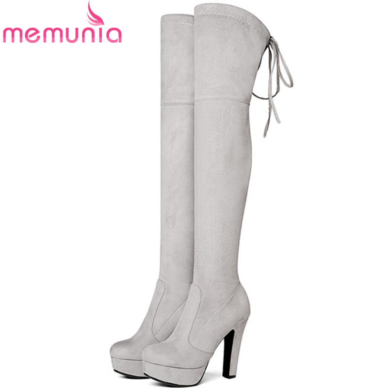 MEMUNIA Big size 34-43 over the knee boots for women autumn winter boots woman fashion shoes platform flock solid<br>