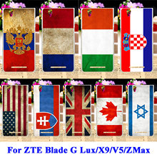 Soft TPU Hard PC Mobile Phone Cases For ZTE Blade G Lux Kis 3 Max V830 X9 V5 Grand ZMax Z970 Covers UK Russia National Flag Bags