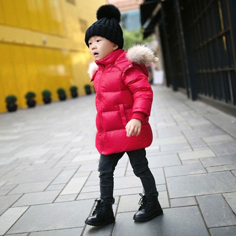 New Boys Parka Children Winter Jackets Big Fur Hooded Warm Boys Clothes Kids Baby Down Jacket Cold Winter Outwear 2 8 14 yearsÎäåæäà è àêñåññóàðû<br><br>