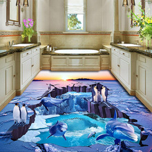 3D Room Wallpaper HD Penguin And Dolphin Design For Living Room Waterproof PVC Floor Wallpaper(China)