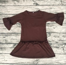 new design baby girls dress high quality solid color brown dress long sleeve thanksgiving dress for children