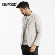SIMWOOD 2017 Autumn New Causal Blazers Men Suits Linen Thin Slim Fit Pocket  Patchwork Brand Clothing Slim Fit XZ6122