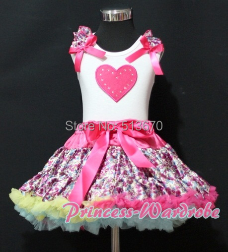 Valentine White Pettitop Top Hot Pink Heart Print Hot Pink Floral Print Pettiskirt 1-8Y MAPSA0249<br>