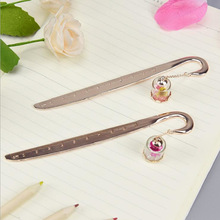 Cute Lovely Creative 3D Crystal Diamond Flowers Metal Ruler Bookmark Steel Rule Students Stationery Rose Gold Color 10cm Ruler