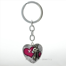 My Valentine Steampunk Key to my Heart keychain Rose flower charm women hope love heart pendant key chain ring lovers gift HP551(China)