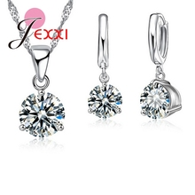 PATICO Canndy Colors 925 Sterling Silver Wedding Elegant Jewelry Sets Crystal Pendant Collar Necklace Earrings(China)