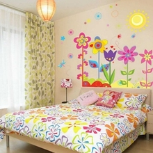 Welcome To Our Home & Fashion Magic Decals Colorful Flowers of Sunshine Life Wall Sticker Living Room stikers mural Smile
