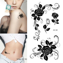 Rocooart HC1185 Women Sexy Finger Flash Tattoo Stickers Black White Flowers Rose Design Water Transfer Temporary Tattoo Sticker(China)