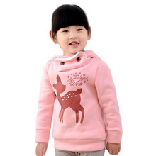 V-TREE plus velvet winter children outerwear cartoon deer baby girls  infant overcoat thicken kids clothes jacket for girls