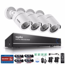 SANNCE 4CH AHD 5 IN 1 Security DVR System HDMI 720P 1200TVL Weatherproof Outdoor CCTV Security Camera 1.0MP AHD Surveillance Kit