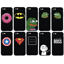 Cartoon Simple Words Man Girl Boss Donut soft silicon Cover for iphone 5s SE 6 6s plus 7 8 plus X Funda Coque Order DropShipping(China)