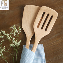 Nazhi Natural Beech Wood Kitchen Cooking Tools Turners Non-stick Nylon Slotted Spatula Gadget Cooking Wooden Cookware Utensils(China)