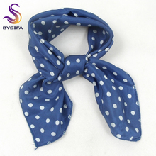 [BYSIFA] Women Navy Blue Square Scarves New Design Spring Autumn Fashion Polka Dot Small Silk Scarf Women Neck Scarves 55*55cm(China)