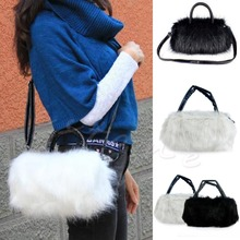 Cute Vogue Black White Faux Rabbit Fur Handbag Shoulder Messenger Bag Tote