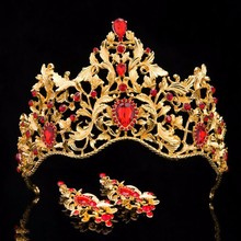 2017 Vintage Gold Wedding Hair Accessories Alloy Bridal Tiaras Baroque King Queen Crown Red Crystal Tiaras Crowns With Earrings