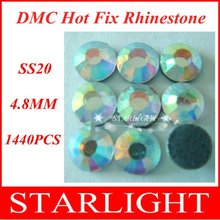 Big Discount ! DMC Flatback Hotfix Rhinestone ss20 4.8mm Crystal AB 1440pcs/bag, rhinestones in bulk Wholesale star15(China)