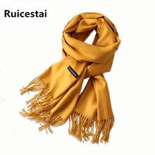 hot 2017 warmer winter women scarf solid soft cashmere scarves shawls lady pashmina wraps echarpe female foulard female bandana(China)