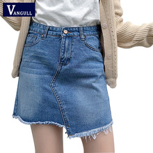 Buy women denim irregular style mini skirt Europe style short skirts ladies fashion elegant faldas saia jupe summer skirt 2018 new for $10.97 in AliExpress store