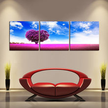 3 Piece Romantic Art Picture Beautiful Landscape Painting Blue Sky Red Grass Canvas For Bedroom Decor Love Tree Artwork No Frame