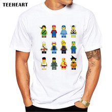 2017 Summer Lego Cosplay Design T Shirt Men's Funny Game Character Printed Tops Hipster Tees la596