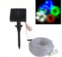 Solar Powered Colorful Tube LED String Light For Garden Fairy Party 100 LEDs 10M Solar waterproof RGB String Fairy TUBE lamps(China)