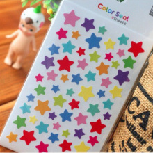 6Pcs/set Star Round Heart Print Memo Pads Cute Drawing Market Diary Transparent Scrapbooking Calendar Album Decor Memo Sticker