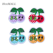 Hoomall New 20PCs Two-hole Sewing Wooden Buttons For Clothing DIY Cherry Pattern 20x20mm Random Mixed Scrapbooking Products(China)