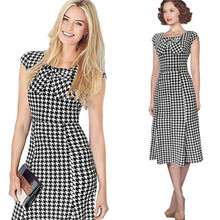 Plus Size Womens Vintage Pinup Rockabilly Bow Design Casual Party New Style Business Wear Sheath Wiggle Pencil Dress