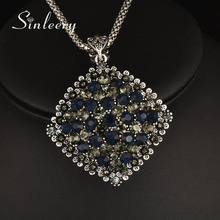 SINLEERY Vintage Full Dark Blue Rhinestone Big Pendant Long Necklace for Women Antique Silver Color Statement Jewelry MY433(China)