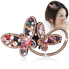 Hot Sale Crystal With Rhinestone Bowknot Barrette Spring Buckle Hairpins Hair Accesories For Women(China)
