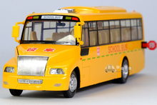 Gift for baby 1pc 23cm real voice America school bus acousto-optic alloy car pull back model decoration boy children toy(China)