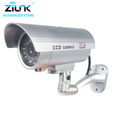 Dummy Fake Bullet Camera Outdoor Indoor Security CCTV Surveillance Waterproof Camera Flashing Red LED Free Shipping Silver(China)