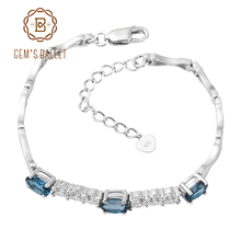 GEM'S BALLET London Blue Topaz 925 sterling silver Natural Gemstone Chain Link Bracelet For Women Charms Fashion Jewelry(China)