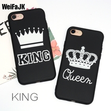 WeiFaJK KING Queen Matte Soft Phone Case for iPhone 6 Case for iPhone 5s 5 6s Plus Cover TPU Black Cover for iPhone 7 Plus Coque(China)