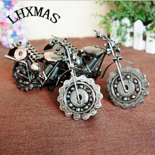 Figurines Miniatures Electroplate Vintage Heavy Iron Motorcycle Model Gifts For Children Kids Friends 2Colors E373