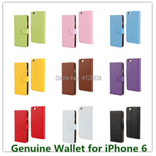 "11 Colors New Fashion Genuine Leather Book Style Folding Pouch Wallet  for Apple iPhone 6 4.7"" with ID Card Holder Free"