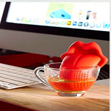 Silicone Tea Strainer Bag Holder Big Tongue Shape Teabags Teapot Coffee Punch Filter Drinkware Tea Leaf Infuser TB Sale(China)