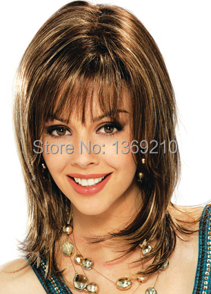 Fashion Hairstyle Mix Color Neat Bangs Capless Synthetic Hair Wigs Free Shipping<br><br>Aliexpress