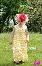 New arrival! Latest Chevron Dress for Children,Grey White Chevron Dress with Yellow Bow for Baby Girl Free Shipping