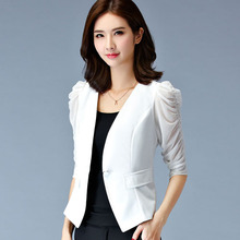 Casaco Feminino 2017 Spring Summer Short design Women jacket Slim Suit blazer Slim female Patchwork Gauze Women outerwear(China)