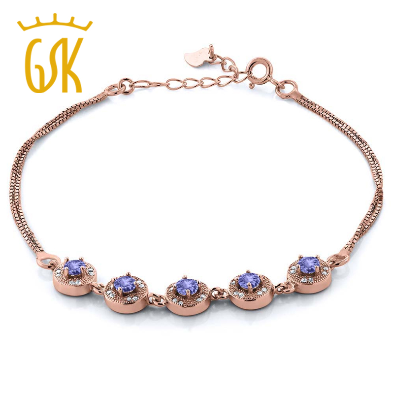 Trendy 2.10 Ct Round Blue Tanzanite Rose Gold Plated Silver Bracelets For Women Fashion Anniversary Accessories GemStoneKing(China (Mainland))