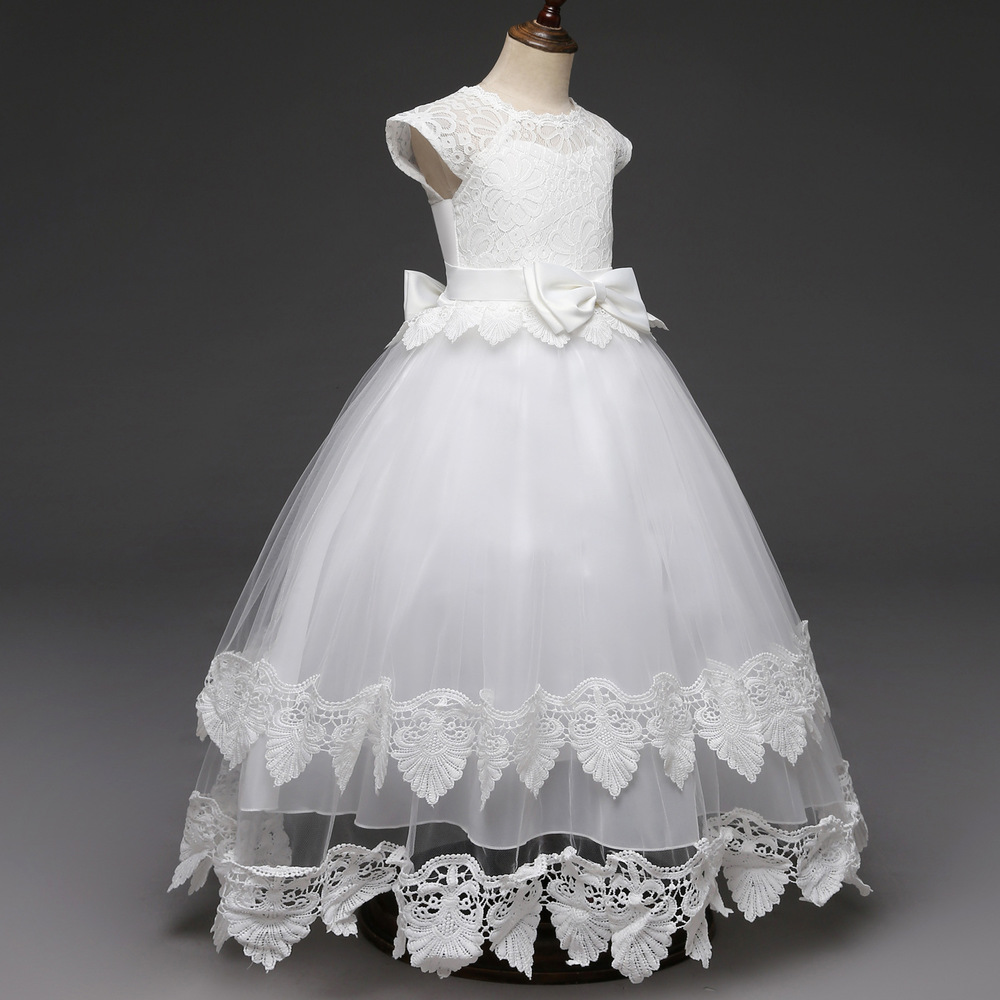 Lace Teen Girls Dress 2018 New Tule Child Wedding White Princess Pageant Gown Bridesmaid Dresses For Kids Party Evening Clothing (9)