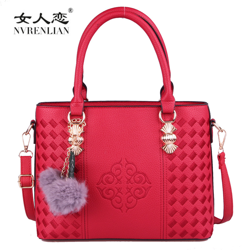 NVRENLIAN Luxury Pu Leather Handbags Women Bag Vintage Designer Female Top-Handle Bags Tote Female Embroidery Shoulder Bags <br>