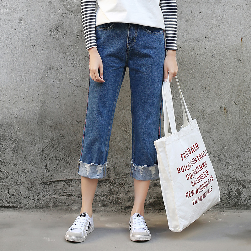 Loose Boyfriend Jeans Woman Straight Leg Denim Pants Slim Ankle Length Cuffs Hem Students Ripped Jeans Femme Spring Casual PantsОдежда и ак�е��уары<br><br><br>Aliexpress